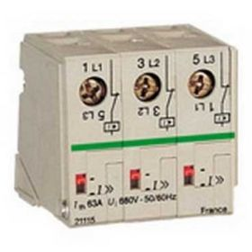 P25M - Bloc limitator Fix - 3P 63A 100kA la 415 V AC - 5 Pasi (9mm)